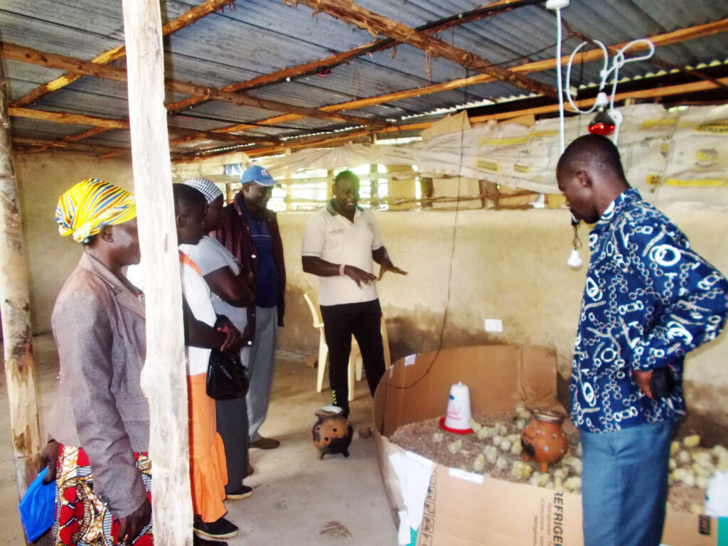 Beneficiaries sharing experiences on brooder heating using locally fabricated earthen brooder for chicks at the production unit